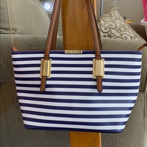 💕Aldo beautiful Blue white brown tote bag leather